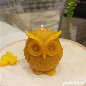 Lumânare bufniță sau fagure cu albinuțe din ceară de albine 100%.  - imagine 3