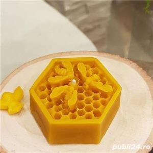 Lumânare bufniță sau fagure cu albinuțe din ceară de albine 100%.  - imagine 4