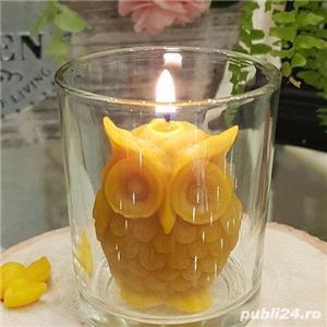 Lumânare bufniță sau fagure cu albinuțe din ceară de albine 100%.  - imagine 5