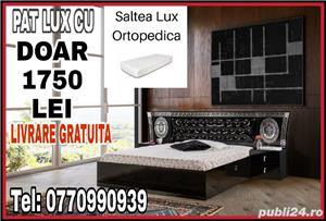 PAT LUX ALB/NEGRU CU TABLIE TAPIȚATA + 2 NOPTIERE + SALTEA  - imagine 2