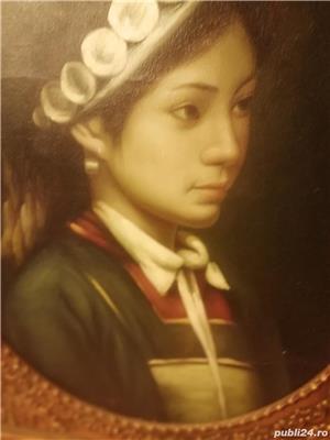 tablou portret  si icoana veche catolica pe lemn din zona ardealului - imagine 1
