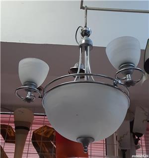 Lustra / corp de iluminat /candelabru culoare alba 5 becuri E27 - imagine 2