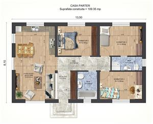 Vand proiect complet pentru o casa unifamiliala Parter - imagine 1