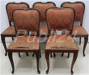 Set 5 Scaune tapitate Vintage; Scaun cu spatar; Sezut 33x33 cm - imagine 1