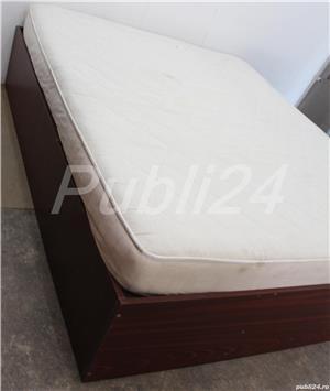 Cadru de pat dublu; Pat de mijloc cu Somiera si Saltea 200x160 cm - imagine 2