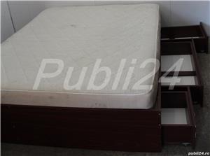 Cadru de pat dublu; Pat de mijloc cu Somiera si Saltea 200x160 cm - imagine 3
