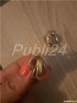 Cercei aur alb + aur galben - imagine 3