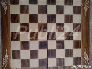 Sah artizanal din lemn, cu piese si table 44x 44cm - imagine 5