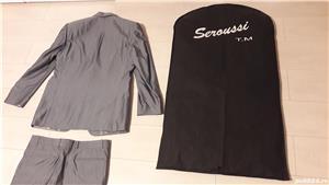 Costum bărbătesc SEROUSI , mărime 52 , culoare gri SACOU + PANTALONI - imagine 5