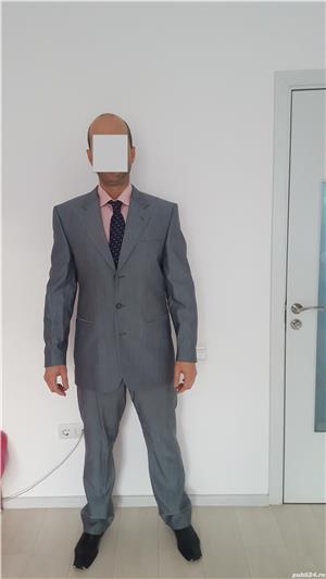 Costum bărbătesc SEROUSI , mărime 52 , culoare gri SACOU + PANTALONI - imagine 2