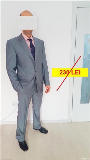 Costum bărbătesc SEROUSI , mărime 52 , culoare gri SACOU + PANTALONI - imagine 1