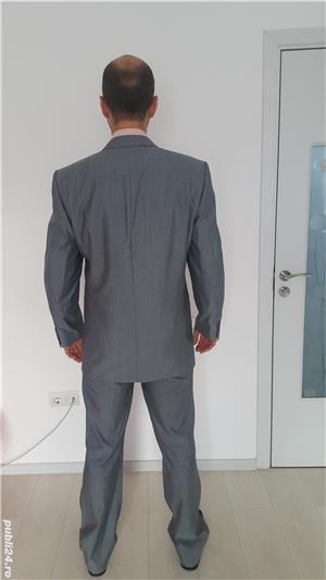 Costum bărbătesc SEROUSI , mărime 52 , culoare gri SACOU + PANTALONI - imagine 3