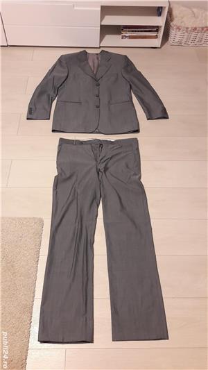 Costum bărbătesc SEROUSI , mărime 52 , culoare gri SACOU + PANTALONI - imagine 6