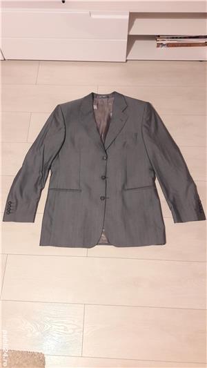 Costum bărbătesc SEROUSI , mărime 52 , culoare gri SACOU + PANTALONI - imagine 4